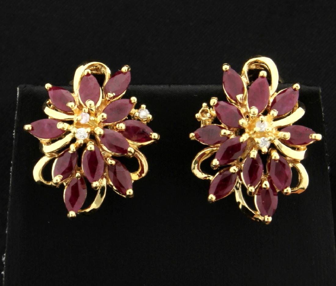 5.5ct TW Ruby and Diamond Earrings