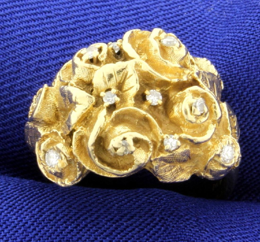 Antique Diamond & Gold Flower Ring