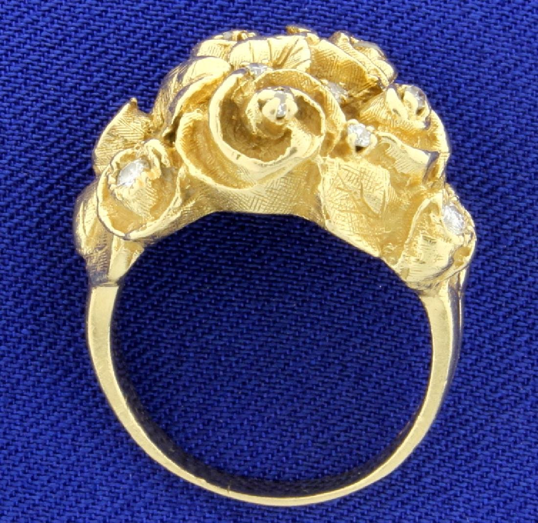 Antique Diamond & Gold Flower Ring - 3
