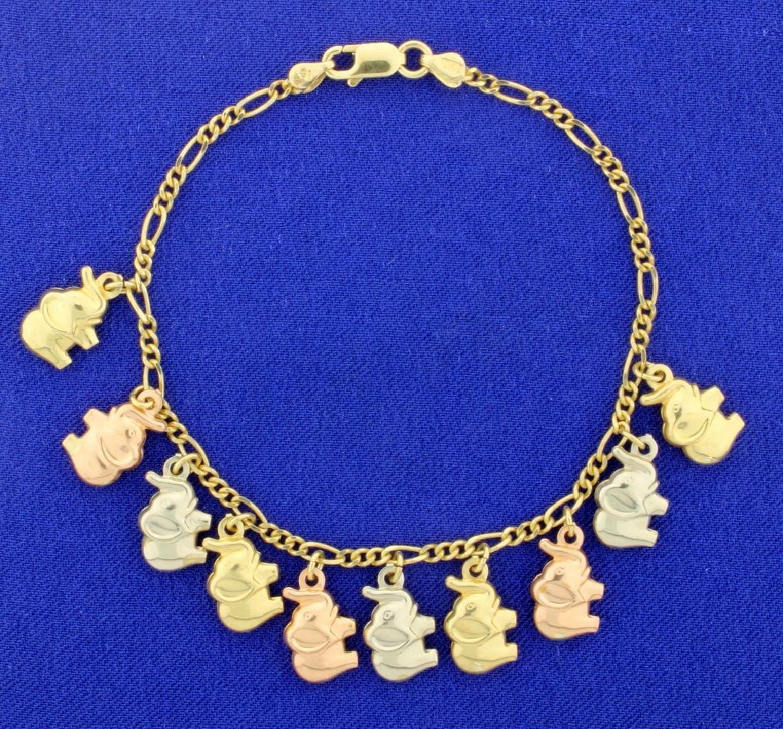 7 1/4 Inch Elephant Bracelet