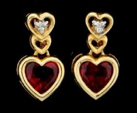 Heart Earrings with Lab Rubies