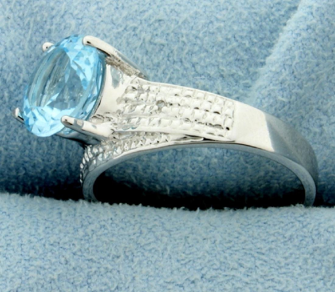 Huge Blue Topaz Ring with Diamonds - 2