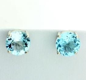Huge Sky Blue Topaz Stud Earrings