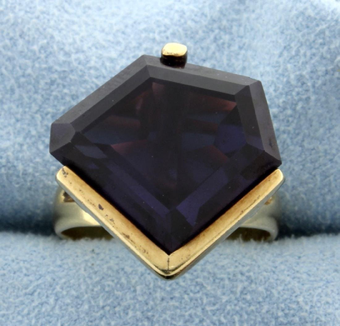 Huge 20 Carat Amethyst Ring in 14k Yellow Gold