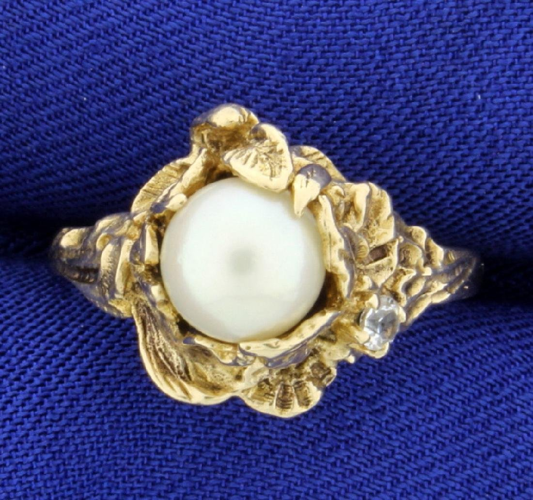Pearl and White Sapphire Flower Ring