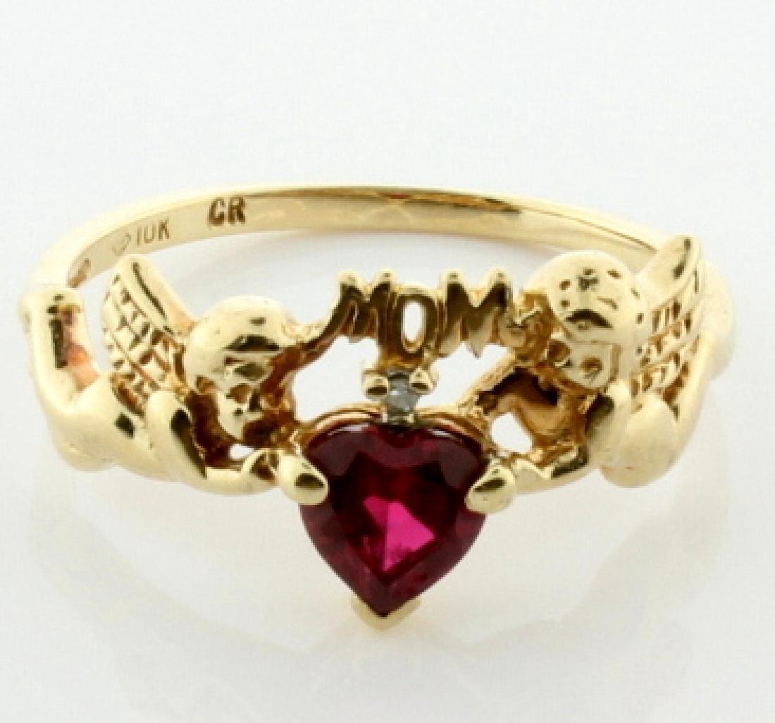 Lab Ruby & Diamond Mom Ring