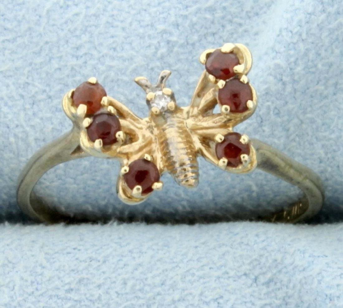 Diamond and Garnet Butterfly Ring
