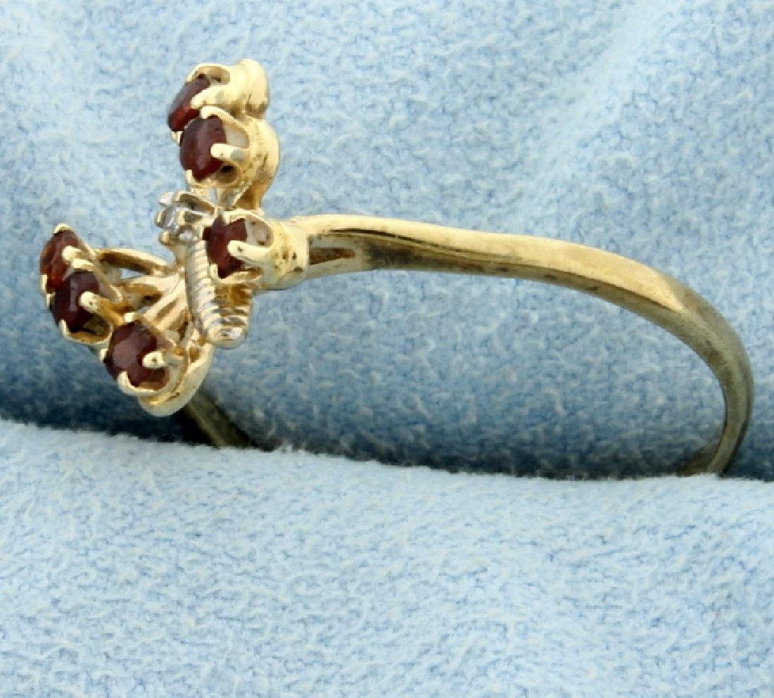 Diamond and Garnet Butterfly Ring - 2