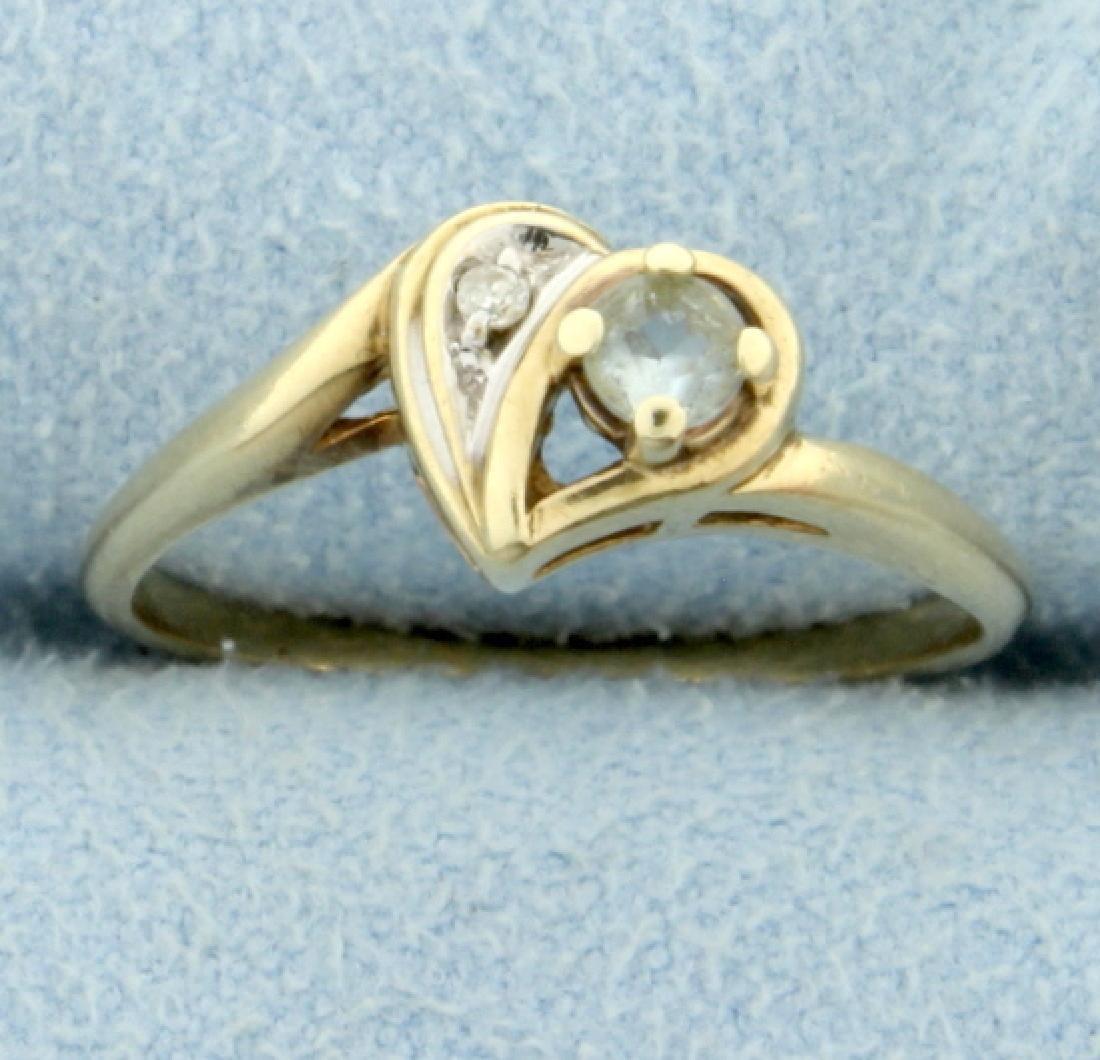 Diamond & White Sapphire Heart Ring