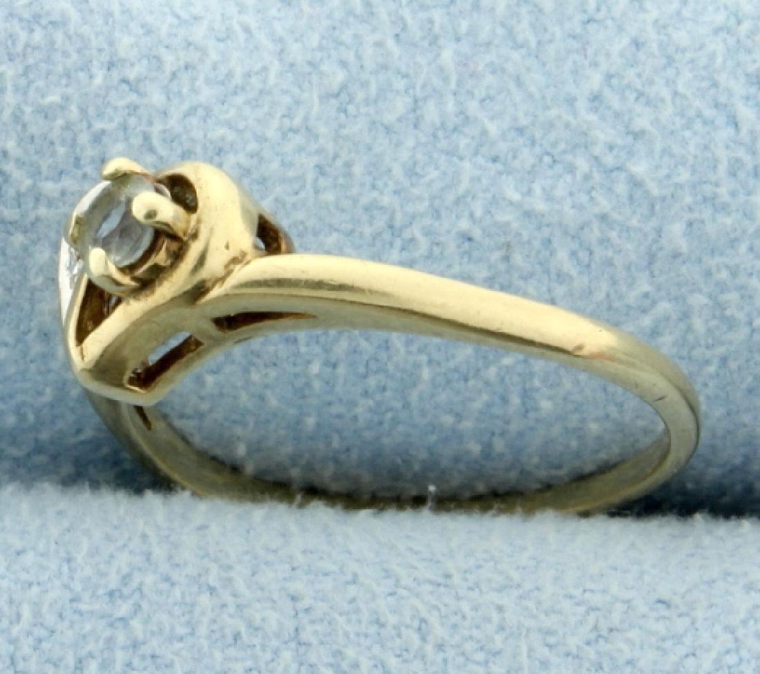Diamond & White Sapphire Heart Ring - 2