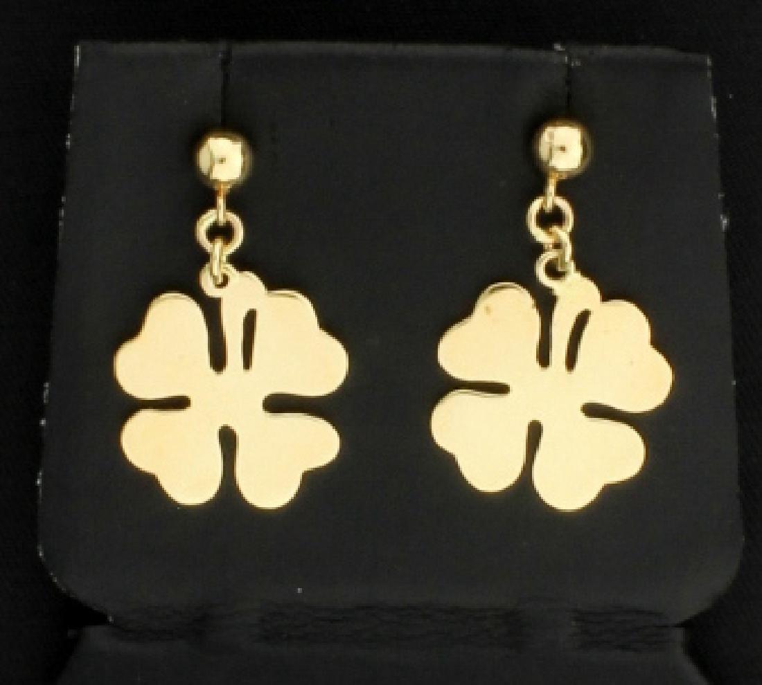 14K Four Leaf Clover Dangle Earrings