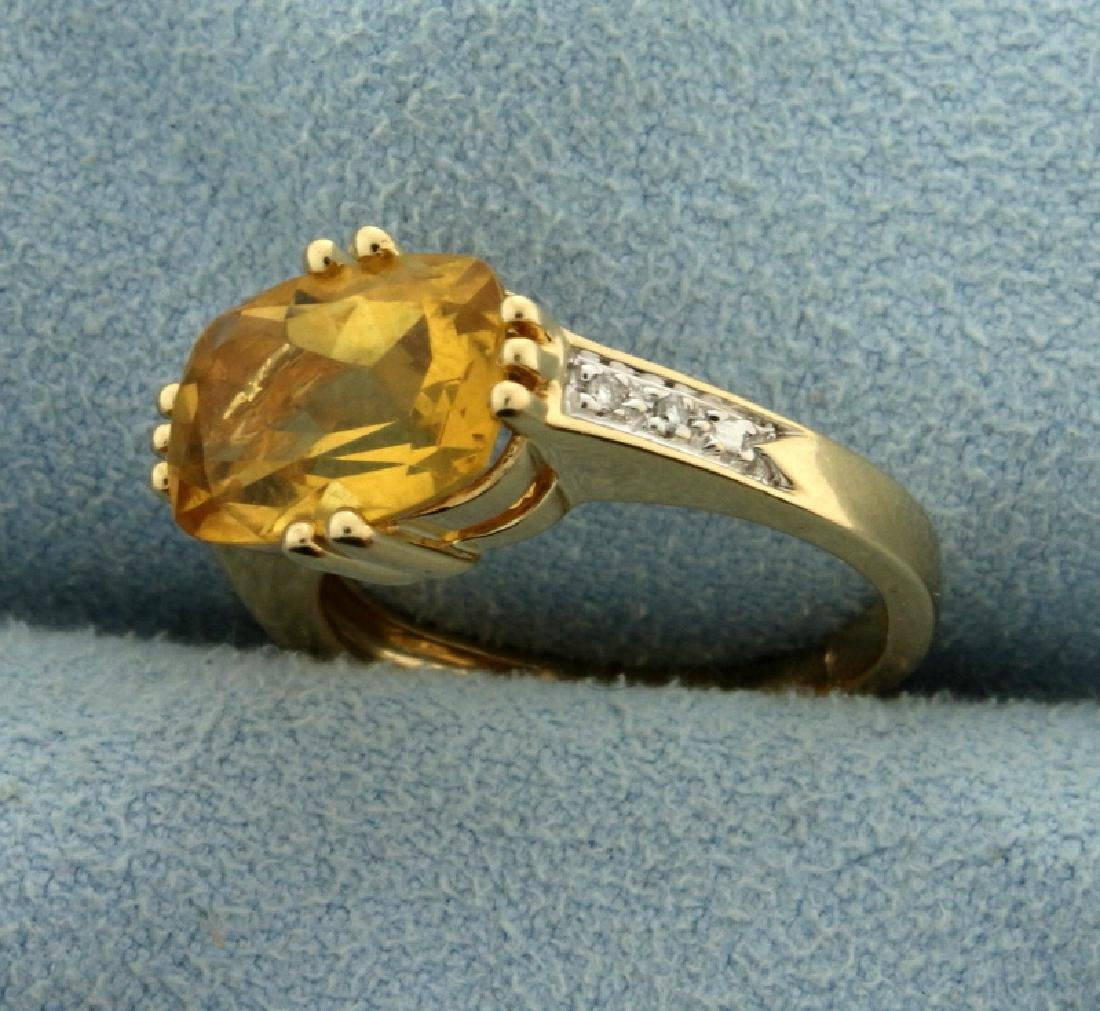 3.5ct Citrine and Diamond Ring - 2