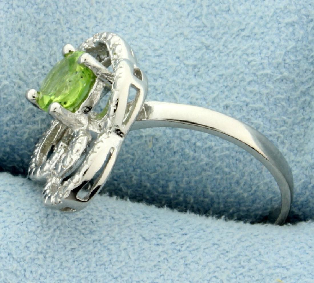 Large Peridot and Diamond Statement Ring - 2