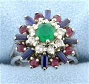 Diamond Emerald Sapphire and Ruby Ring