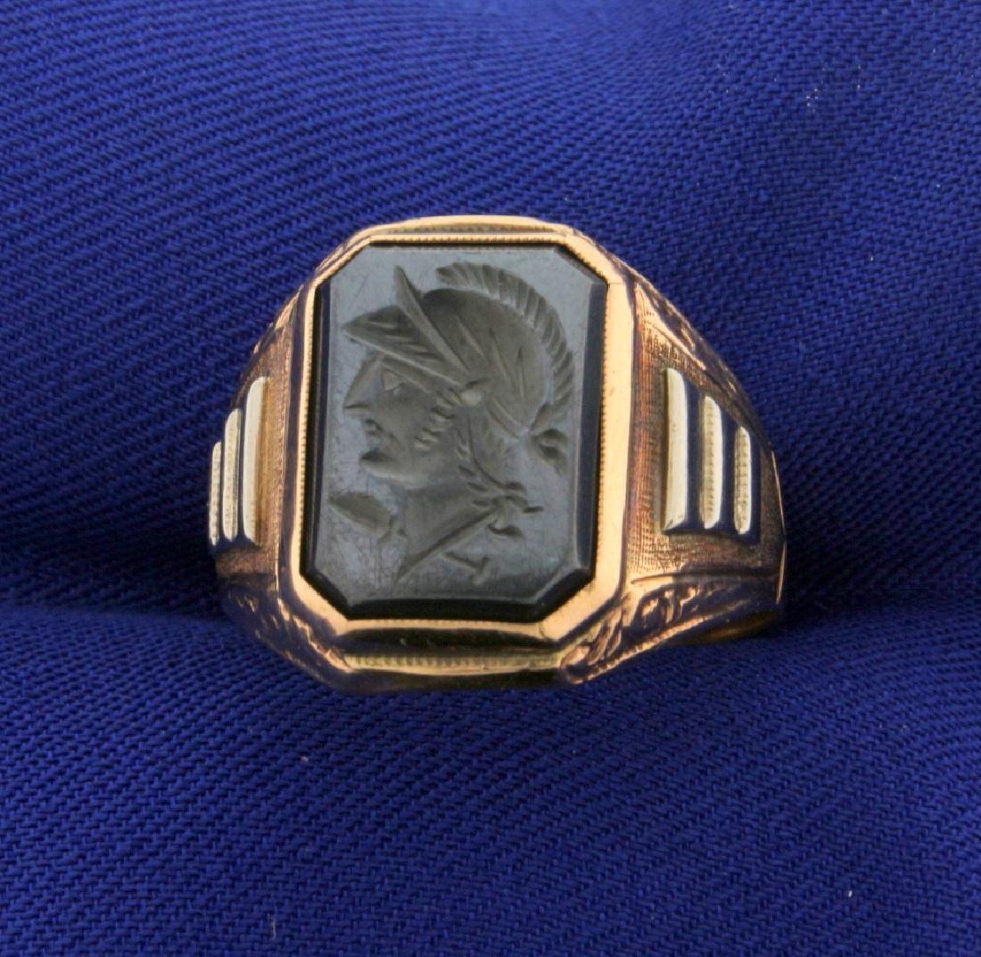 Hematite Gladiator Signet Ring in Rose Gold
