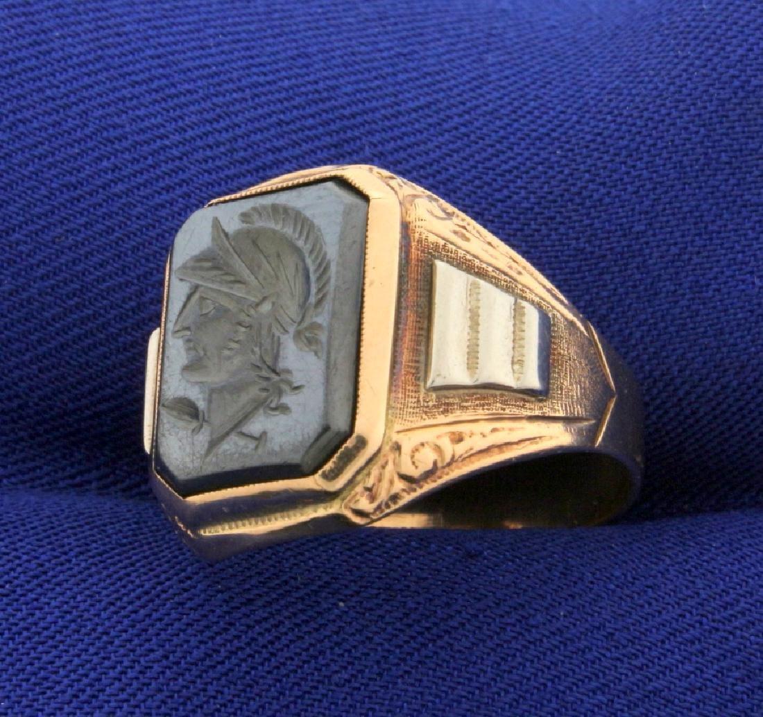 Hematite Gladiator Signet Ring in Rose Gold - 2