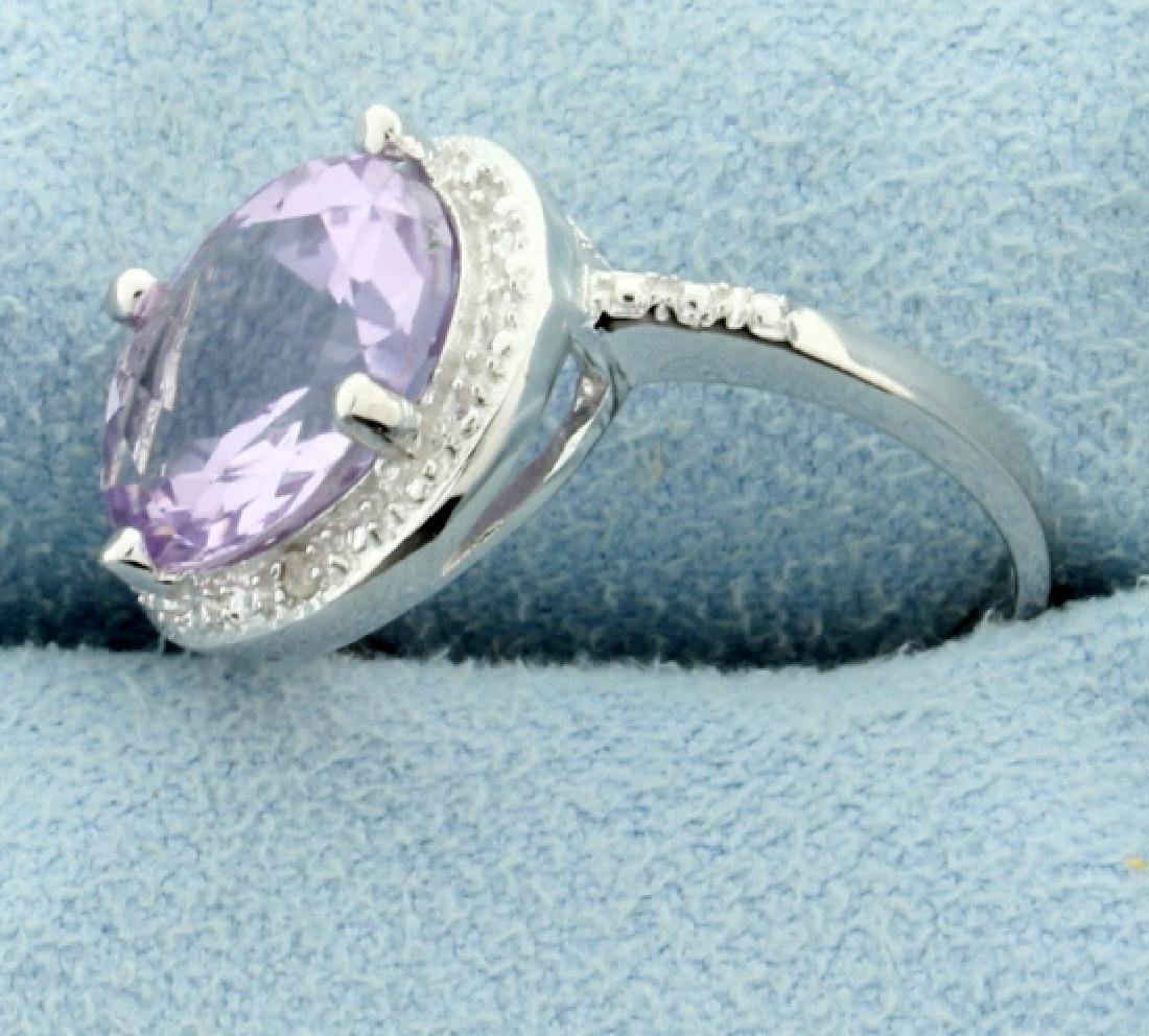 Huge 13ct Pink Amethyst Statement Ring with Diamonds - 2
