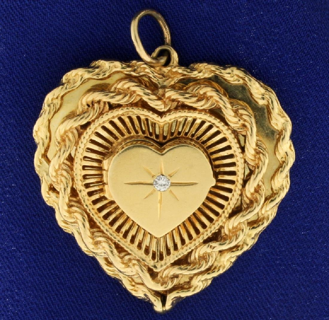 Heart Locket Diamond Pendant