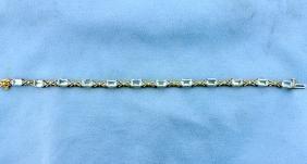 Blue Topaz & Diamond 10k Bracelet