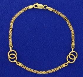 7 1/2 Inch Alternating Flat Link and Ring Designer