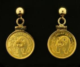 1/20 Gold Ounce Chinese Panda Coin Dangle Earrings