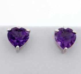 Large Amethyst Heart Stud Earrings