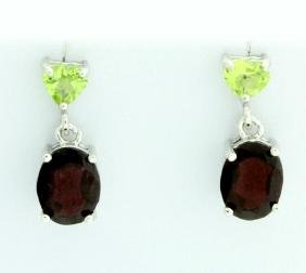 Christmas Garnet and Peridot Dangle Earrings