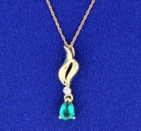 10K Crested Synthetic Emerald & Diamond Pendant