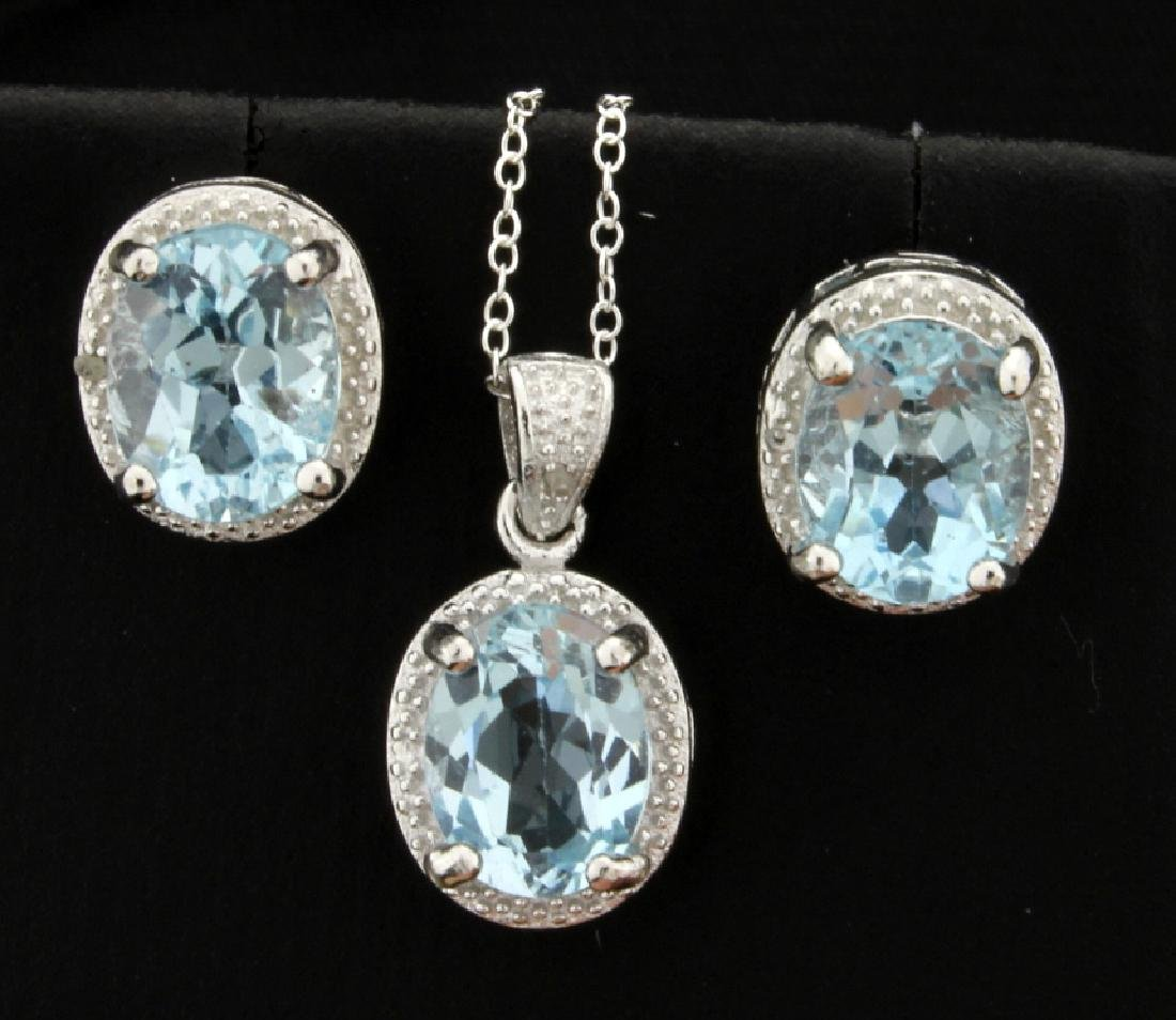 Vintage Style 7ct TW Blue Topaz Earrings and Pendant