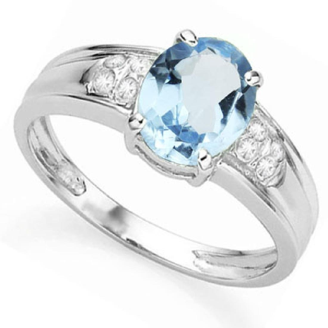 Sky Blue Topaz Ring with Diamond Accent in Sterling