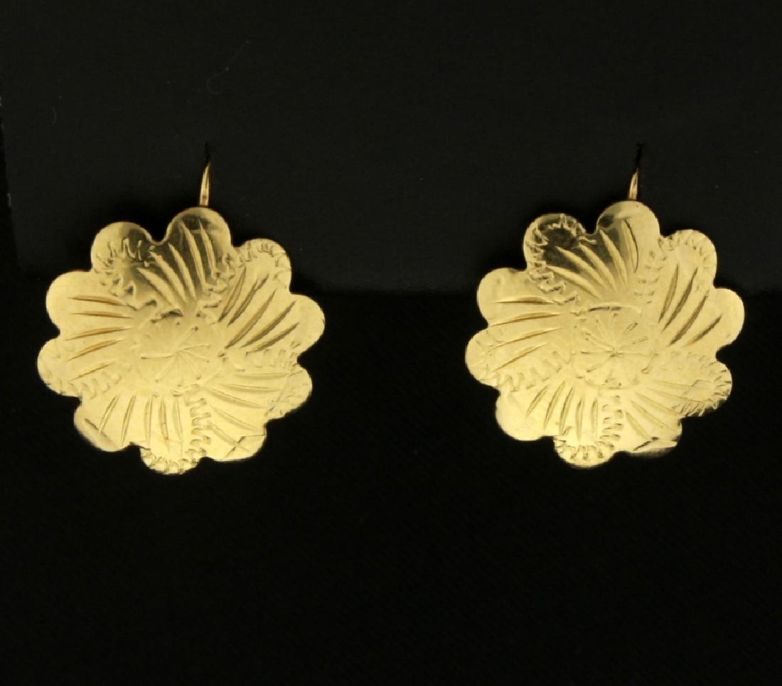 Flower Engraved Earrings