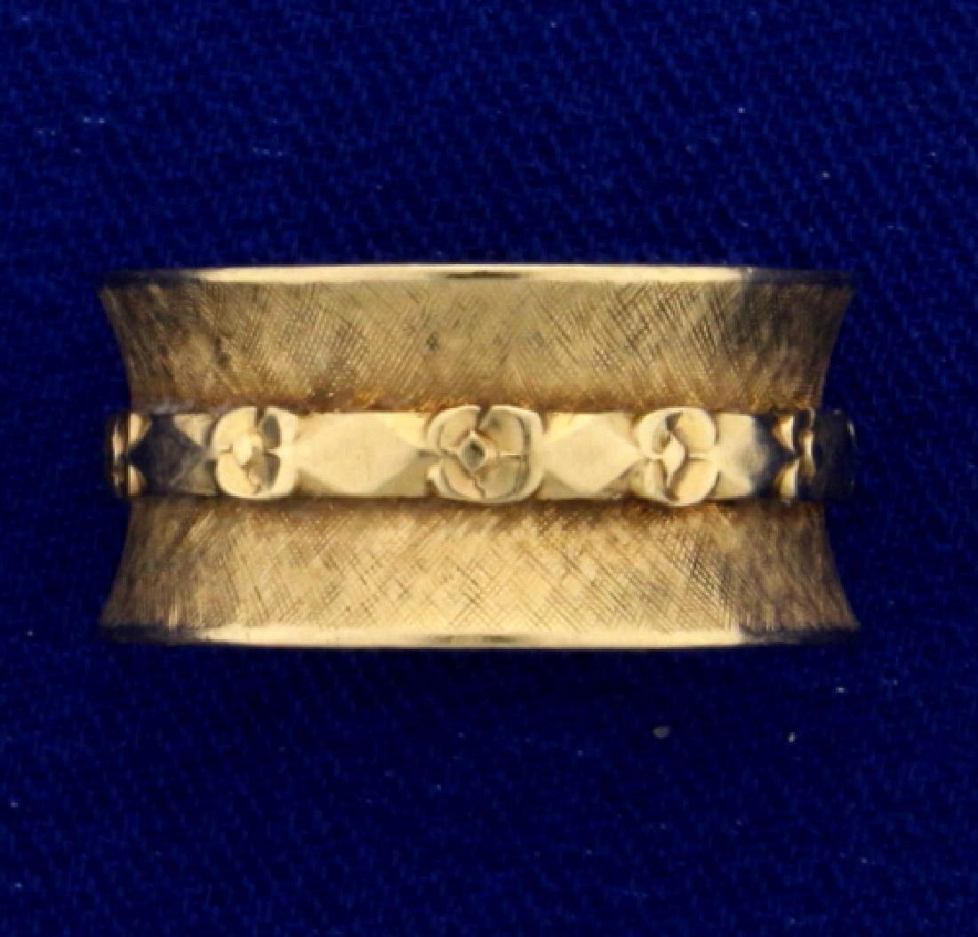 Unique Wide Flower Design Band Ring