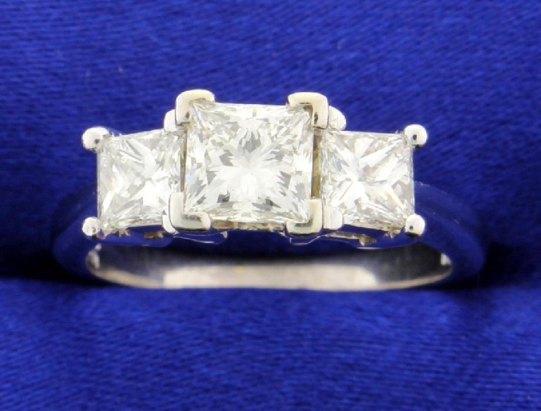 2.10 carat three stone diamond ring