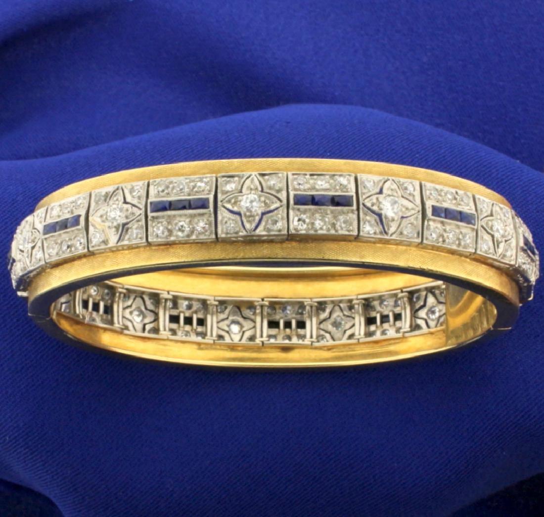 Vintage Diamond and Sapphire Bangle Bracelet