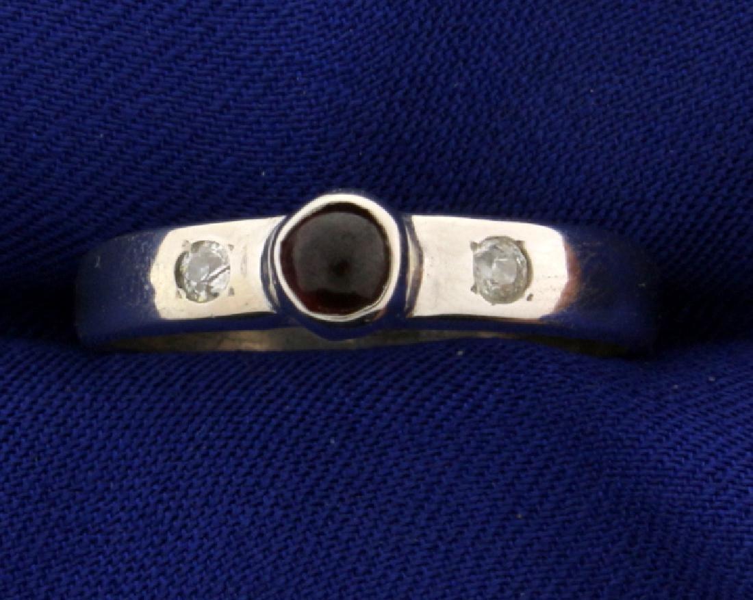 Garnet and Diamond Men's Ring