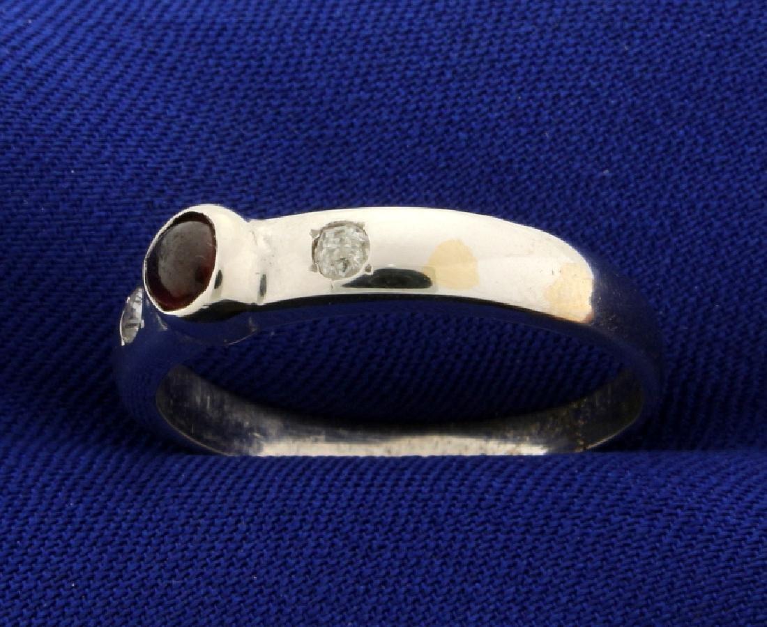 Garnet and Diamond Men's Ring - 2