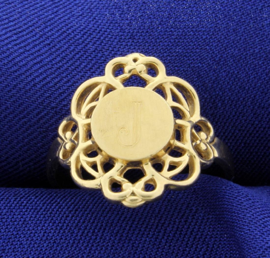 """14K Yellow Gold """"J"""" Monogram Ring"""