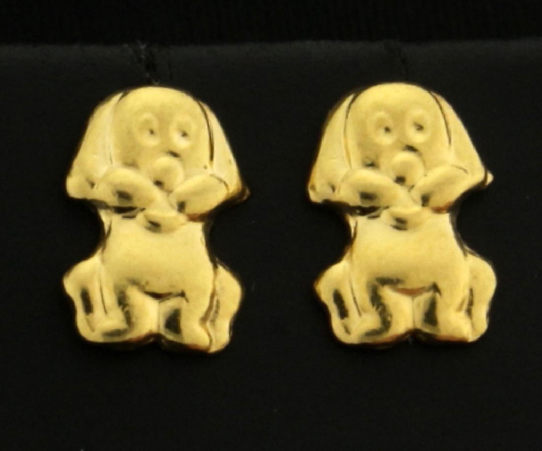18k Gold Puppy Dog Earrings