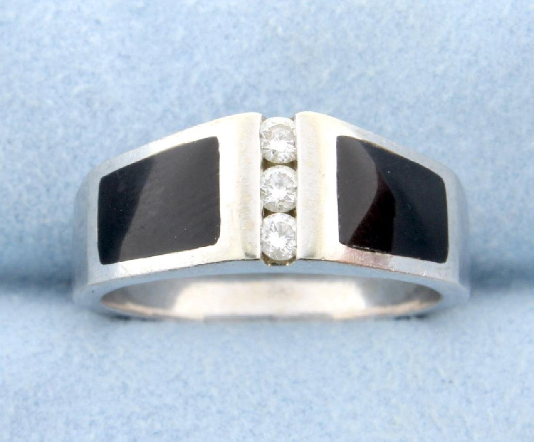 Diamond and Onyx band ring
