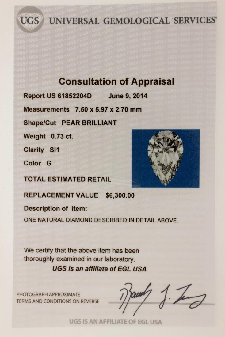 EGL Certified Pear Brilliant 0.73 carat Diamond - 2