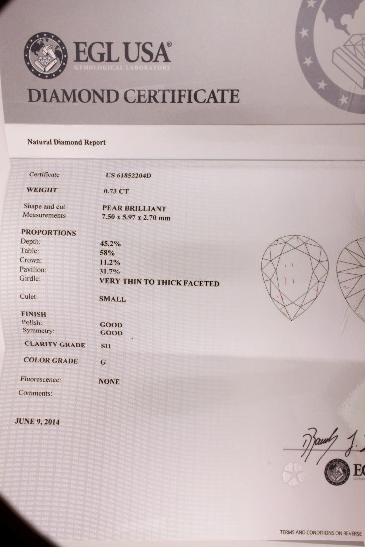 EGL Certified Pear Brilliant 0.73 carat Diamond - 3