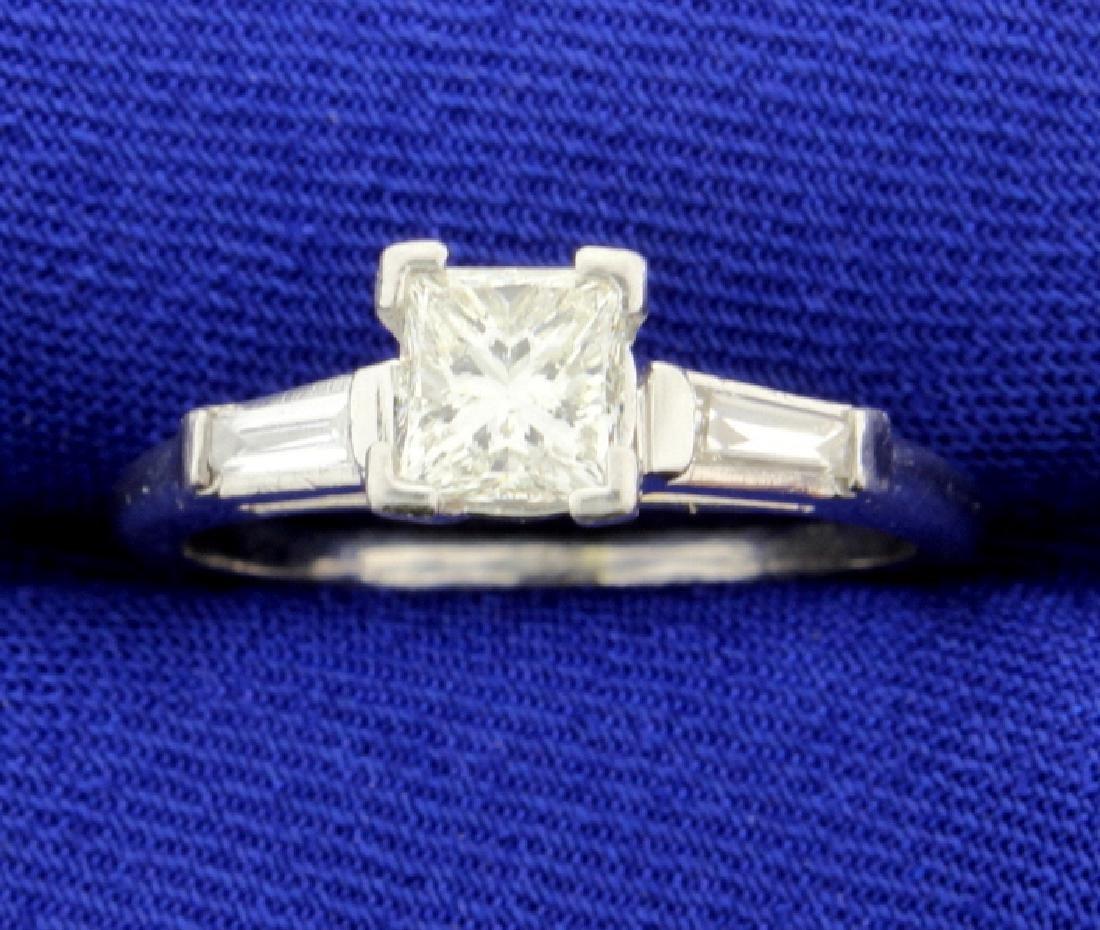 Over 1 CT TW Platinum Diamond Engagement Ring