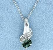 Tourmaline & Diamond Pendant with Chain