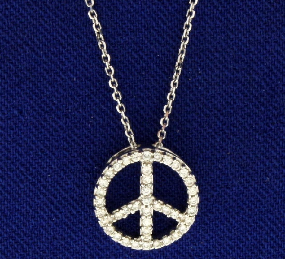 Peace Sign Diamond Necklace
