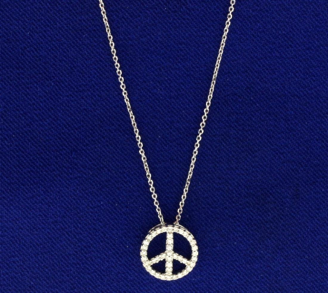 Peace Sign Diamond Necklace - 2