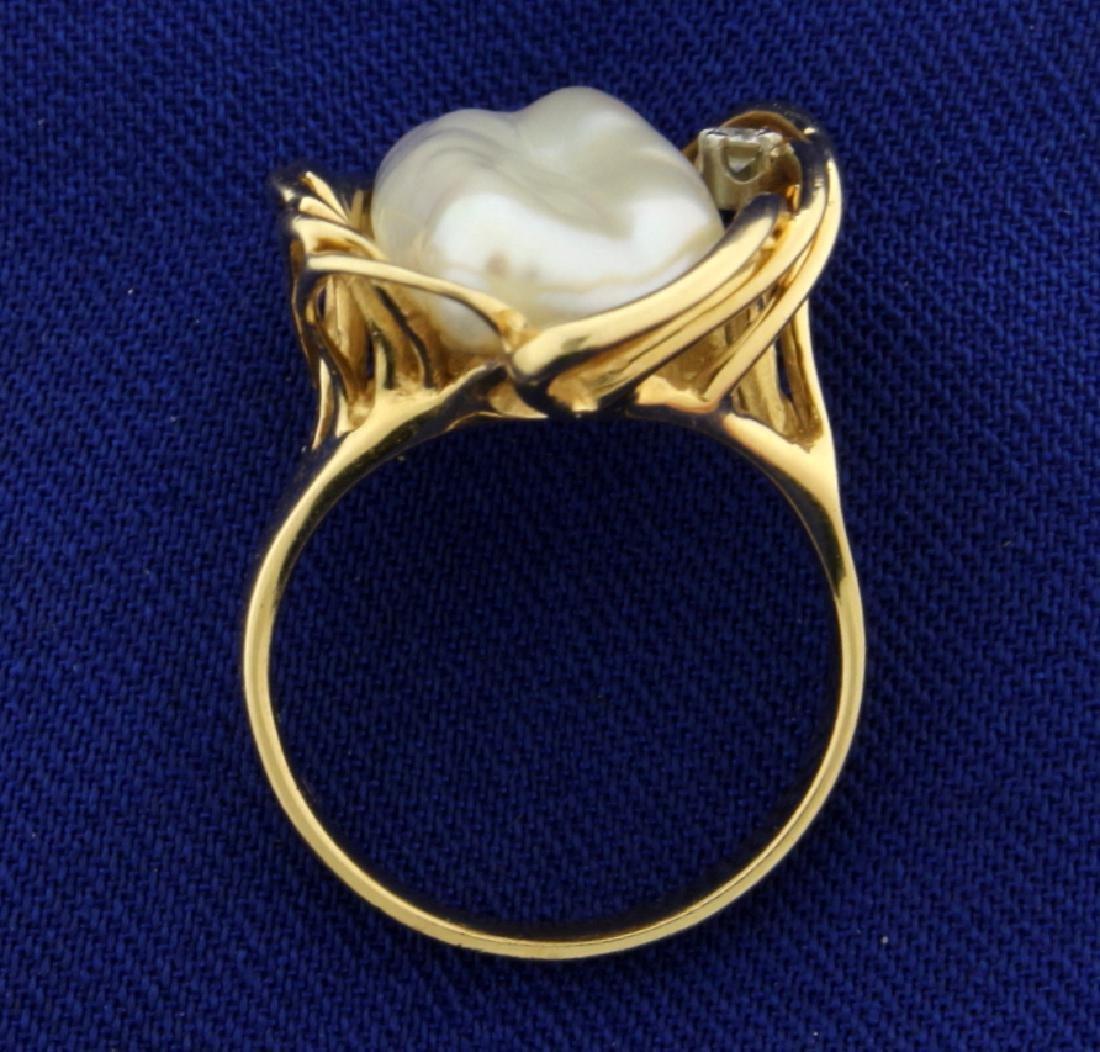 Natural Pearl and Diamond Ring - 3
