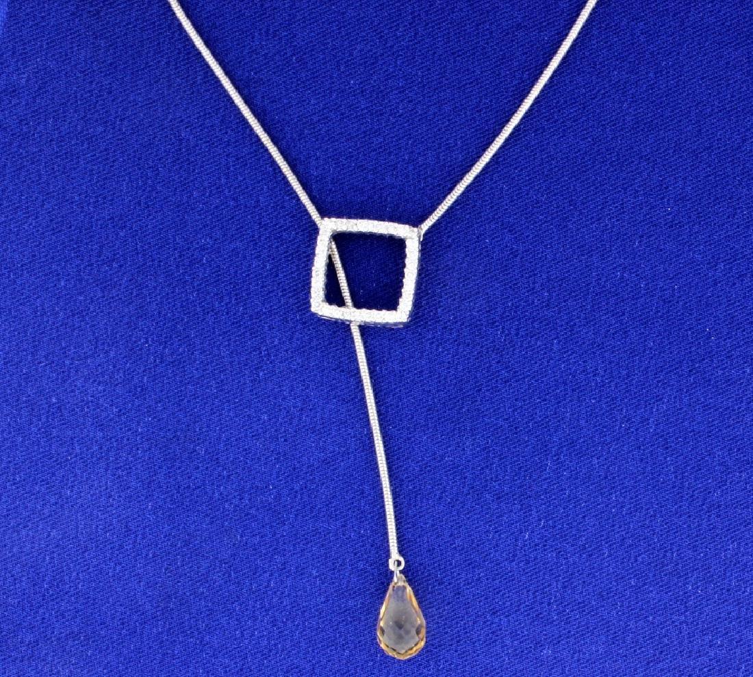 Citrine Lariat Diamond Necklace - 2