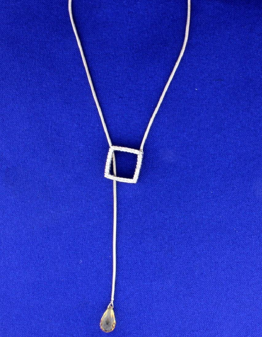 Citrine Lariat Diamond Necklace - 3