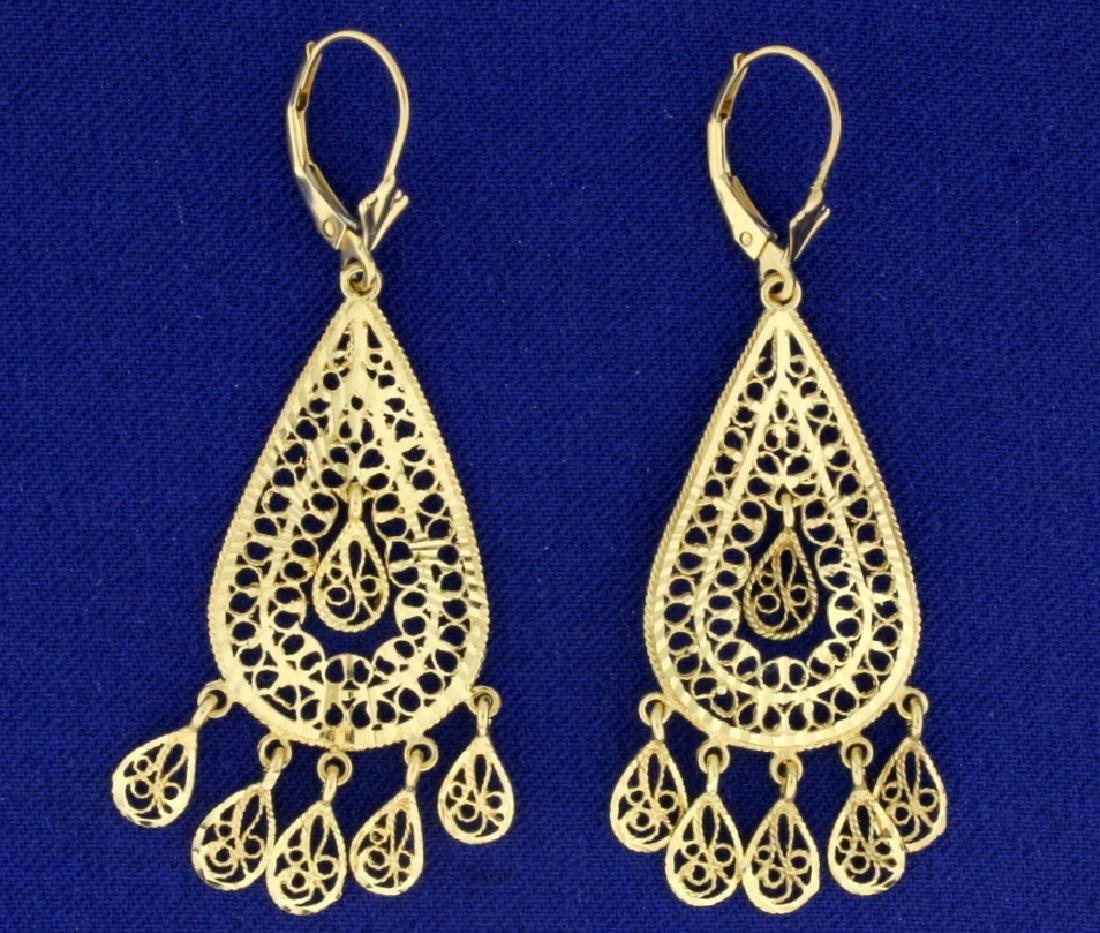 Chandelier Drop Earrings in 14k Gold