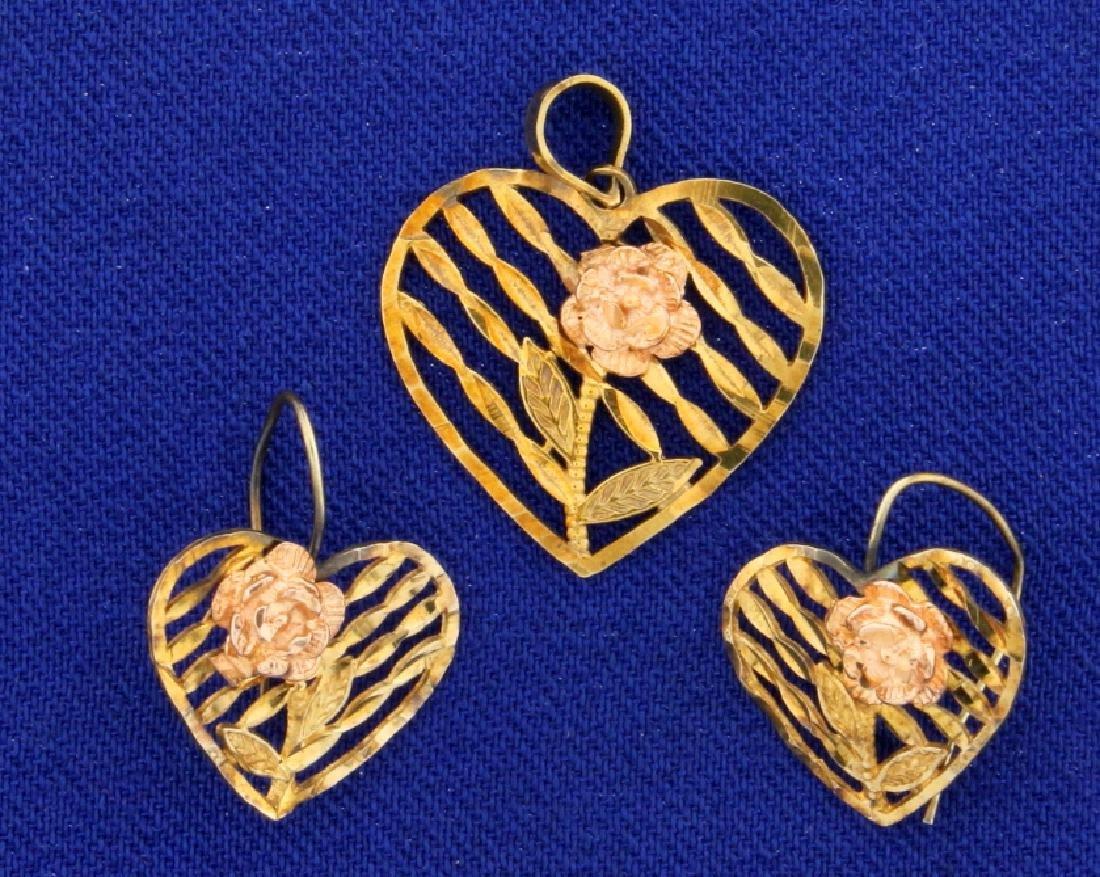 Vintage Heart Flower Pendant and Earring Set